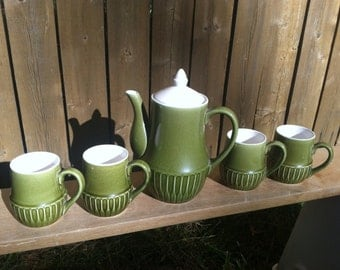 Mid Century Japanese Coffee and Mug Set in Green and White