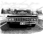 Back in Black, Supernatural Car, 8X10 Print