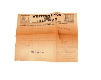 Western Union Telegram 1924, SALE Vintage