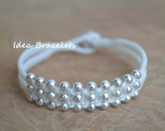 White Friendship Silver Beaded Double Layers Bracelet