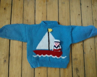 Hand-Knit Children's Sailor Pullover Size 18 Months