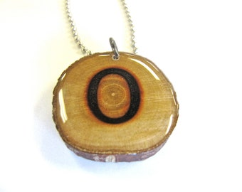Letter O Necklace, Reclaimed Wood
