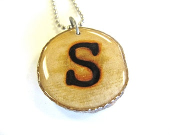 Letter S Necklace, Reclaimed Wood