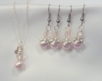 Pearl Wedding Necklace and Earring set of 2, Bridesmaids gift, Wedding jewlery, Bridal necklace and Earrings