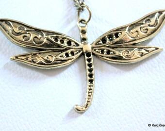 1 x Bronzed Dragonfly Pendant
