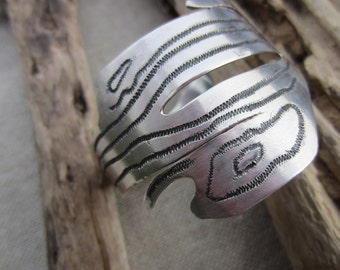 Stunning Organic freeform sterling silver cuff with carbonized design