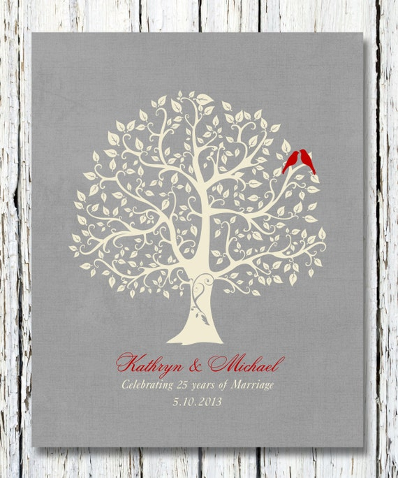 Items Similar To 25th Silver Wedding Anniversary Tree Gift