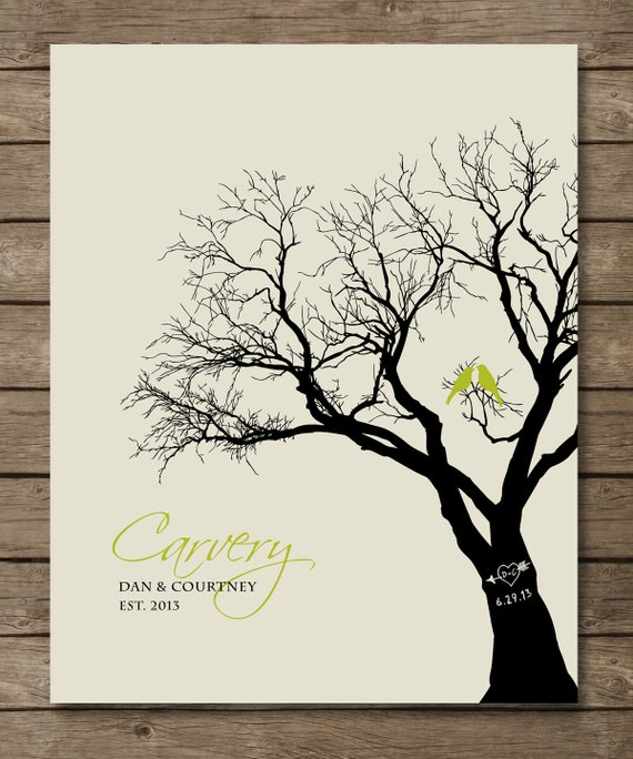 Personalized Wedding Gift Family Tree Art Love Birds In Tree