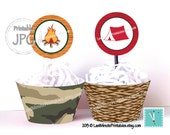 campout party, campfire, camp printable, happy camper cupcake wrapper holder topper clipart campfire campout camp cake party printable wrap