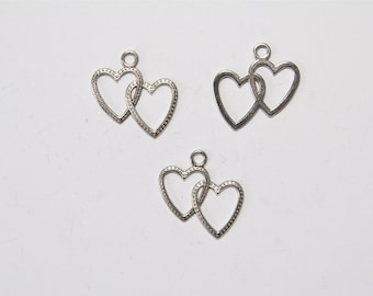 """10 Piece silberf. """"Two hearts"""" 23x23mm MPA175"""