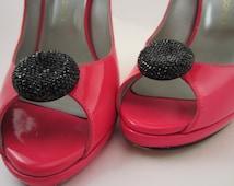 Black Shoe Clips, Shiny Shoe Clips, Evening Shoe Clips, Sparkling Black Dots Trendy Shoe Clips - Shoe Decorations