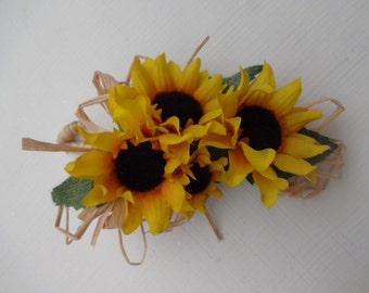 2 Piece wrist corsage and boutonniere in mini sunflowers