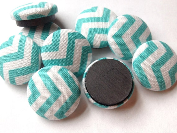 Kitchen Magnets - 9 Aqua Chevron - Office Decor - Dorm Room Decor - Office Organization - Strong Magnets - Fridge Magnets