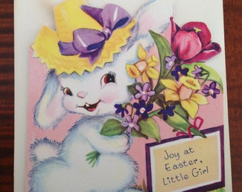 Vintage Easter Card For Little Girl  - Juvenile Easter Bunny Floral Greeting Card - Unused with Envelope - By Wipco