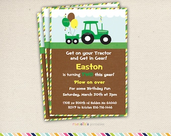 Green Tractor Birthday Party Invite and Thank you Cards- Printable Invitations John Deere Party