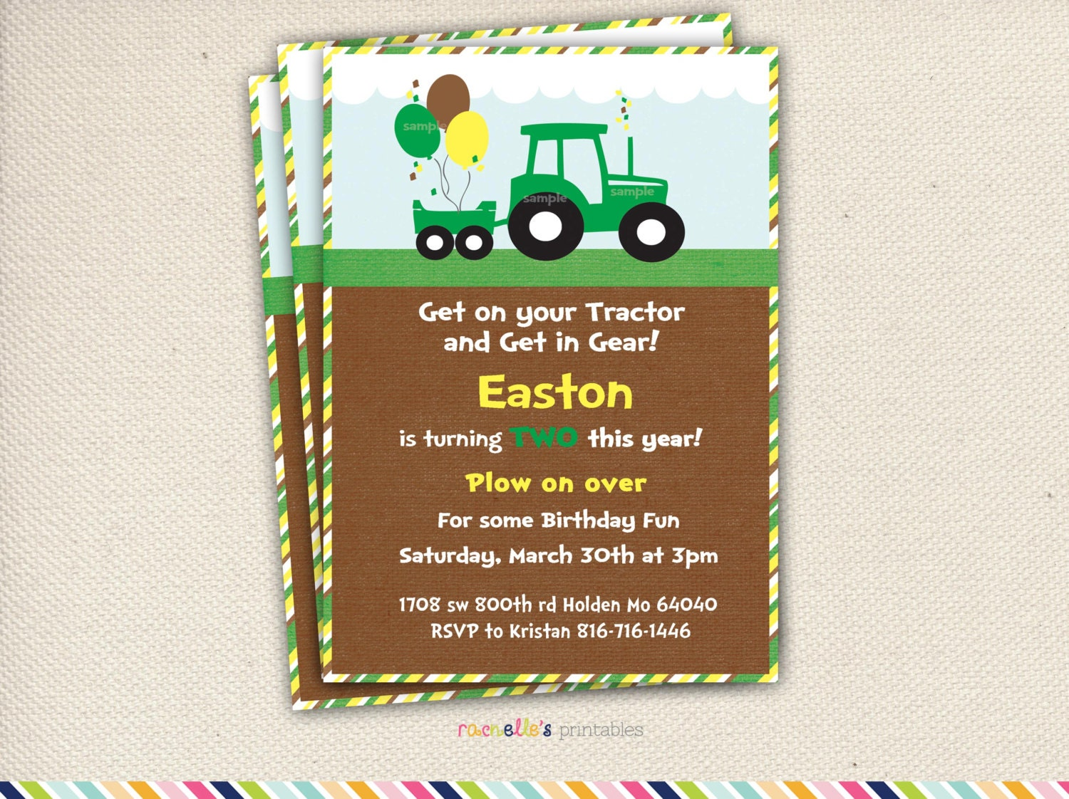 Green Tractor Birthday Party Invite and Thank you Cards