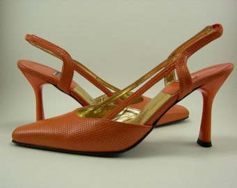 Vintage Timothy Hitsman Open Back Strap Pumps Size 6 1/2 M Size 6.5 M Coral Peach Color Weaved Texture Leather Made In Spain