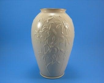 Vintage Lenox Orchid Design Vase Ivory China 24Kt Gold Gilt Embossed Orchid Design Vase