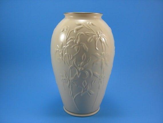 Vintage Lenox Orchid Design Vase Ivory China 24kt Gold Gilt