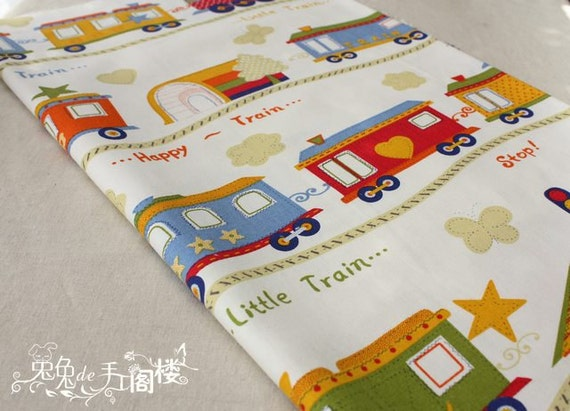 Cotton linen fabric linen cotton fabric by dragonflyworkshopyi for Kids train fabric