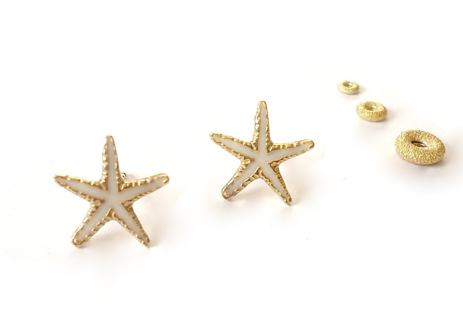 gold plated silver starfish stud earrings painted with by
