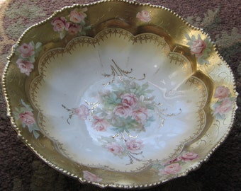 R S Prussia Germany Gold and Porcelain Bowl 1900-1909