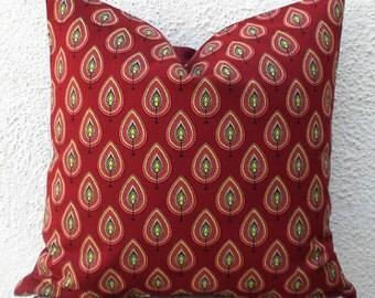 Hand Printed Pillow Covers - Dark Red Leaf Motif - 20x20 - 1 pair - ct19C
