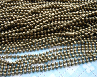 SALE--50 pcs Antique Bronze Ball Chain Necklaces - 27inch, 1.5mm