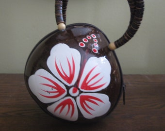 Vintage Hand Painted Coconut  Purse