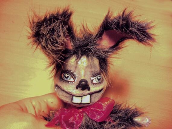 Grey Rabbit - Bunny - Hare - Creepy Funny Weird Odd Freak - Soft Sculpure - Mixed Media - OOAK - Art Doll - Wire Armatured Faux Fur Animal