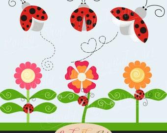 Instant Download - Lovely Ladybug Clip Art, Ladybug Clipart, Lady Bug Clip Art, Flowers, Clipart