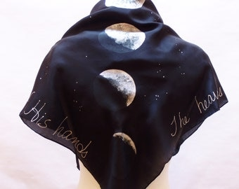 Square Silk Scarf, Black, Silver, Phases of the Moon, Made to Order