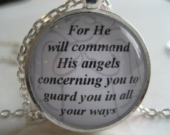 Scripture Necklace Bible Verse Psalm 91:11 For He Will Command His Angels Concerning You To Guard You In All Your Ways