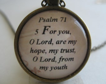 Hope and Trust Scripture Necklace Bible Verse Psalm 71:5