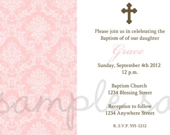 Damask Baptism Invitation Pink