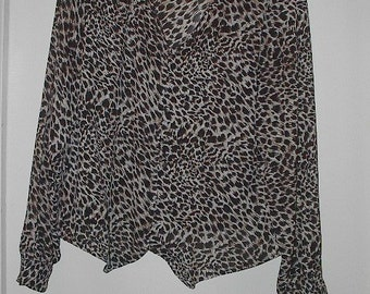 HALF PRICE Sale Vintage Animal Print Nicola Blouse Made In U.S.A. Was 10.00 Now 5.00