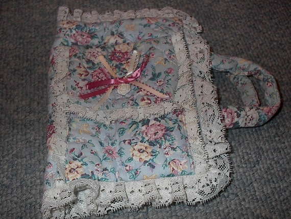 Fabric Book Cover For Sale ~ Vintage handmade quilted fabric bible cover for small