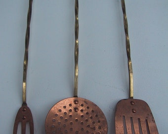Trio of Vintage Copper and Twisted Brass Serving Utensils