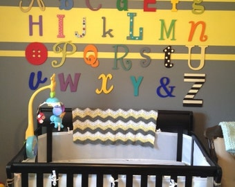 "SALE ITEM- Unpainted Alphabet Set -Wooden Letters -Alphabet Wall-ABC Wall- Unfinished 12"" to 6"" letters various fonts"