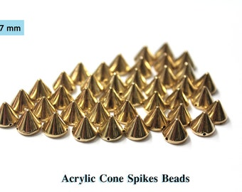 60 PCS 7 mm Gold Bullet Cone Spike Acrylic Bead Punk Rivet Bracelet Spacer Beads