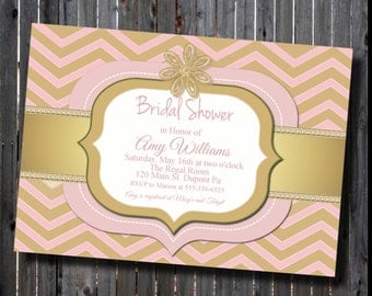 DIY-Printable Chevron Gold And Pink Bridal Shower Invitation-print your own-Chrystal Brooch Accent