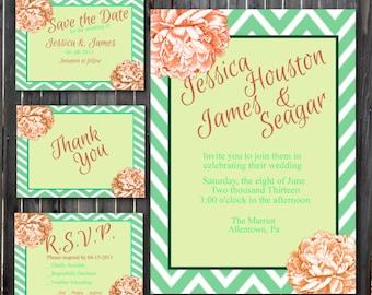 DIY Printable Wedding Invitation Suite Chevron and Peony-Mint and Salmon-