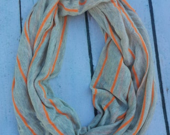 gray and orange striped infinity scarf