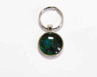 "Key Ring ""wonderful green flower"""