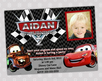 Disney Cars Lightning McQueen and Mater Photo Birthday Party Invitation - Digital File