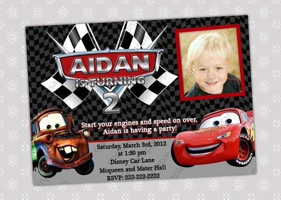 Disney Cars 3 Movie Printed Personalized Invitations Birthday Party Ideas Lightning Mcqueen