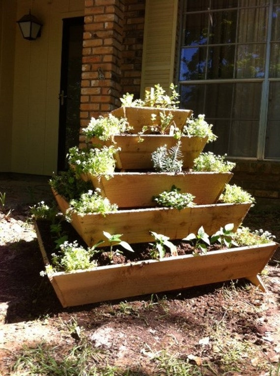 Pyramid Planter, herb garden, strawberry planter, vertical garden, raised planter, raised garden, school project, school garden, garden