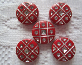 10  Christmas Red & Silver Etched Flat Round Coin Acrylic Beads  18mm