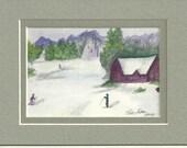 Red Ski Barn in Winter original watercolor painting