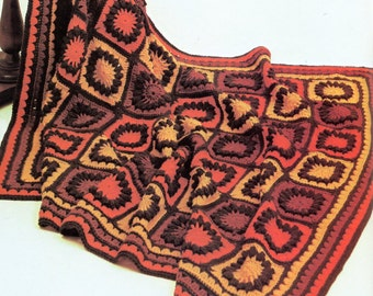 Orange & Brown Granny Square Afghan PATTERN, Vintage 1970's Libertto